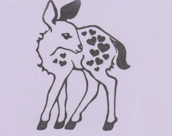 Baby Deer Clear Stamp with Hearts made from a hand-carved stamp