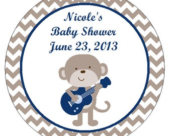 Personalized Rockstar Monkey Circle Favor Tags
