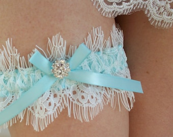 Aqua Garter, Wedding Garter in Eyelash Lace and Aqua Blue Ribbon - The MELODY Garter - Available in off-white lace and light ivory lace
