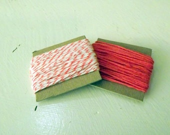 Cotton String Coral and White Divine Twine and Solid Coral Divine Twine 10 yards each 20 yards total stripes gift wrap craft supply