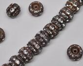 10 mm Vintage Brass Rhinestone Rondelle Beads 10 or 20 Pieces