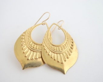 Brass Art Deco Earrings, Gold Earrings,Stamped Metal Earrings, Pattern Earrings, Statement Earrings, Gold Tribal Earrings