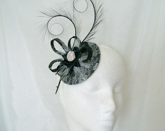 Black and Silver Grey Lace Covered Isadora Fascinator Mini Hat with curl feathers & diamante - 'Custom Made To Order'