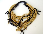 Mustard Yellow and Brown T Shirt Necklace scarf , knotted fabric recycled upcycled tshirt women accessories