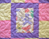 Baby Quilt for Girl, Handmade Baby Quilt, Quilted Patchwork Baby Quilt, Pink and Purple Bears Baby Blanket, Baby Bedding, Toddler Bedding