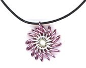 Pink Pendant, Cord Necklace, Whirlybird Style Chainmaille