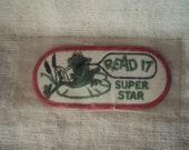 Vintage READ IT Super Star Sew On Patch