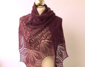 hand knitted merino and cotton shawl
