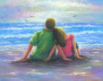 Beach Lovers 12X16 Original Oil Painting vertical, beach paintings, ocean, loving couple, original beach painting, Vickie Wade paintings