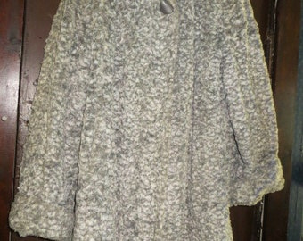 vintage 50S  ANNS Hollywood California grey white CHENILLE  swing coat jacket