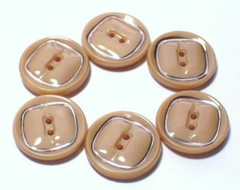 12 Beige Caramel Glass Vintage Buttons 19mm Set Sewing Buttons with holes