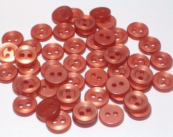 SALE Pearly LIght Burnt Orange Vintage Plastic Buttons 10mm Doll Size Craft Sewing Buttons Set 50