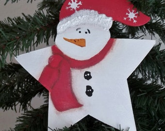 Star Snowman Handpainted Ornament Gift Tag Personalized