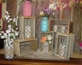 Rustic Wood Crates planter box wedding reception decorations mason jar vase centerpiece wood reclaimed country wedding decorations crates