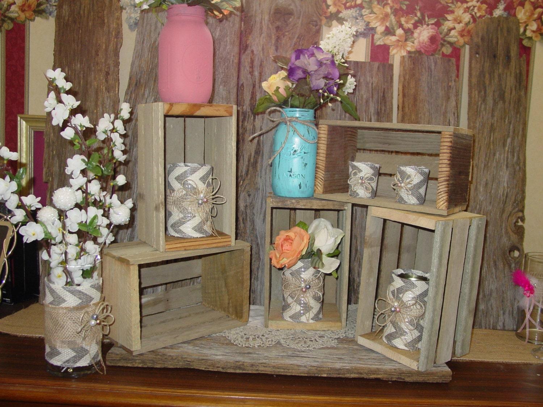 Rustic Wood Crates Planter Box Wedding Reception Decorations