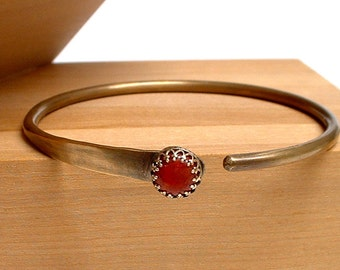 Brass Bangle Bracelet with Red Coral and Brass Fancy Bezel Wall Setting