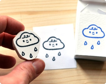 Rainy weather hand carved rubber stamp