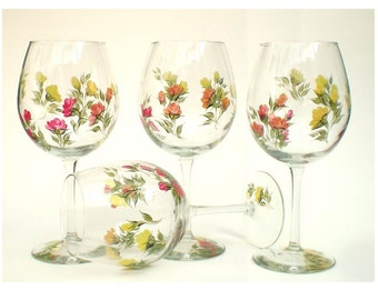 Hand-Painted Wine Glasses - Colorful Roses in Red Orange Peach Yellow, Set of 6 - HandPainted Wine Goblets Gardener Gift Idea Hostess Gift