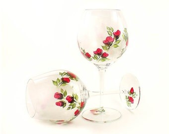 Hand Painted Large CRYSTAL Wine Glasses - Crimson Red Rose Buds, Green Leaves, Set of 2 - Red Wine Goblets Balloon Glass Stemware Glassware
