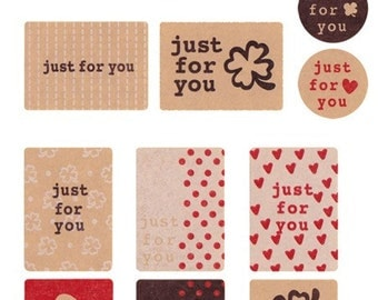 39 just for you stickers in kraft