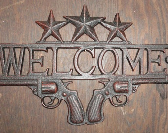 cast iron welcome sign country and western texas style wall decor texas - Texas Style Decorating