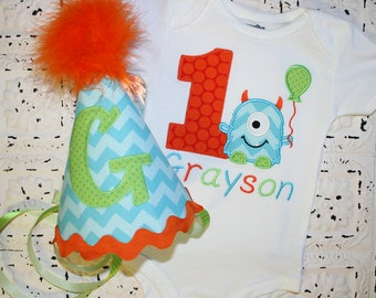 M2M Little Blue Chevron  Monster Birthday Shirt or bodysuit and HAT - FREE PERSONALIZATION-Your Choice of Letters or Numbers
