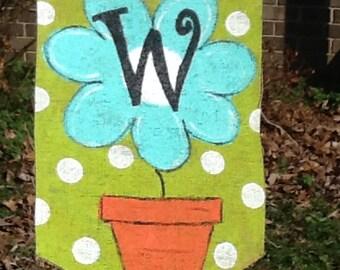 Burlap Flower Yard or Garden Flag with Initial Summer Decor Spring