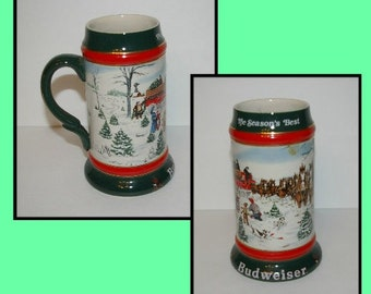 Vntage Anheuser Busch Stein Mug, The Seasons Best, Artist Susan Sampson,  Clydesdales, 8 Horse, Hitch, Wagon, 1991
