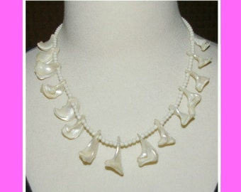 Vintage Sea Shell Necklace, Graduated Curled Shapes, Sea Side Heights, New Jersey 1970's