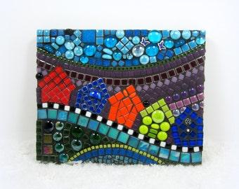 SALE -Children's Room decor .. Houses and Street mosaic landscape, mosaic wall decor, art  perfect for child's room  JillsJoy TAGT rainbow