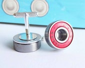 Red Skater Cufflinks, upcycled bearing, skateboarder, roller skater, scooter, geeky wedding, grooms accessories, groomsmen gift
