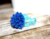 Royal Blue and Turquoise Adjustable Flower Ring, Filigree Ring, Holiday Accessory, Holiday Gift