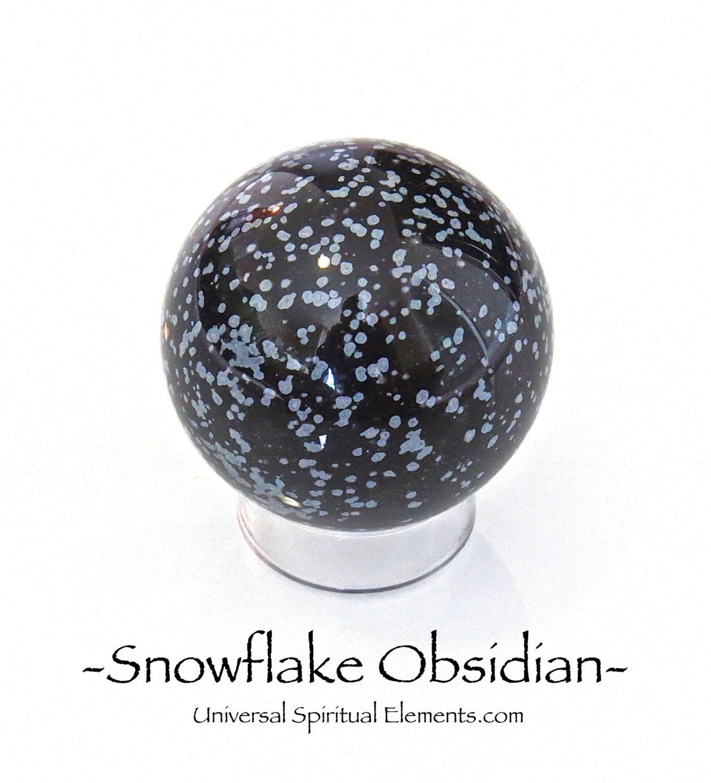 White Snowflake Obsidian : Snowflake obsidian chakra sphere