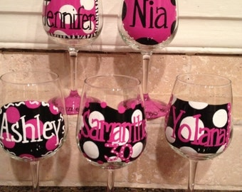 Handpainted and Personalized Wine Glasses