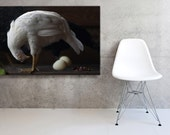 Stretched Canvas Black and White Photography of a White Hen Dutch Inspired Still Life  Photograph