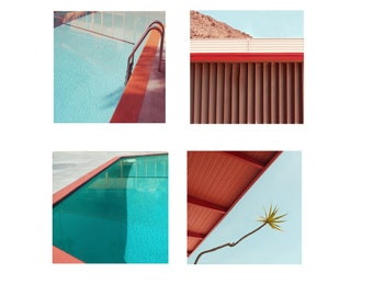 Mid Century Architecture Photography  Set of Four  Square Photographs