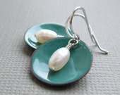 Spruce Green Enamel White Pearl Modern Minimalist Circle Earrings