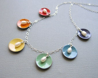 Enamel Rainbow Necklace White Pearl Choker