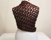 CLEARANCE! Brown Mohair Honey Comb Rectangular Shawl