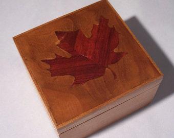 Maple Leaf Keepsake Box Trinket Box Cherry Wood
