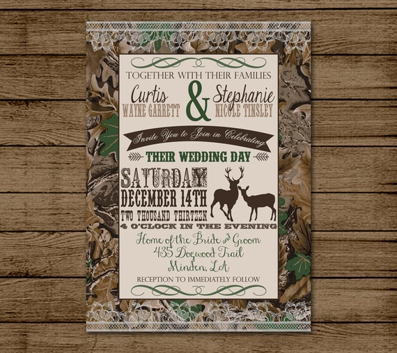 Customized Wedding Invitation Camo Deer Camouflage Couples