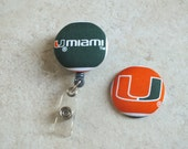 Miami University ID Badge Holder Retractable in Miami U, Florida, Sports Badge Reel, Nurse ID Badge Holder, Football, Ready to Ship
