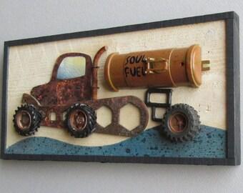 wall decor - boys room - Soul Fuel - salvaged materials - vintage look