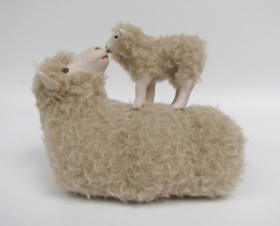 Porcelain and Wool Polish Merino Lying with Lamb On Her Back