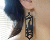Wood Earrings - Asian Crane - Heron - Black Wood Earrings - Intricately Carved/Cut Wood Earrings - Matte Black