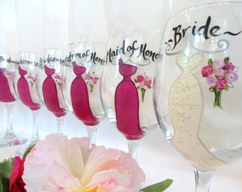 """Hand Painted Bridesmaid Wine Glasses """"EXACT DRESS REPLICAS""""  - Bridal Party Wine Glasses - Free Gift Boxes!"""