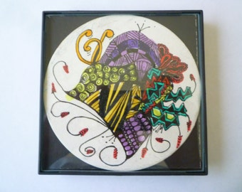 FRAMED Abstract, Zentangle inspired, 4x4 inch, use a as a grouping on small wall.#5