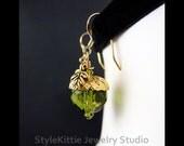 Acorn and Oak Leaf  Earrings, 14k Gold Fill, Czech Glass, Swarovski Crystals, Dangle Earrings, Olivine Green, Mocca Brown, Vermeil, Jewelry