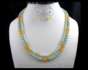 Amazonite, Calcite, Double Strand Necklace, Hoop Dangle Earrings, 925 Sterling Silver, Aqua Blue, Yellow, Adjustable, Set, Gemstone, Jewelry