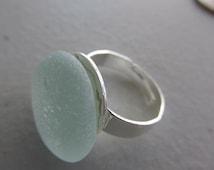 Seaglass Ring, Sea Foam Sea Glass. Adjustable Ring Jewelry,Martha Stewart Band, Beach Glass Jewelry, Genuine Sea Glass